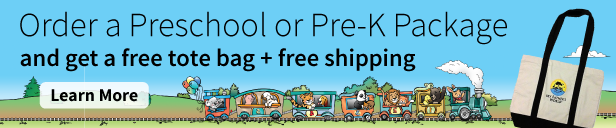 Order a Preschool or Pre-K Package and get a free tote bag + free shipping