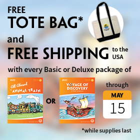 Through May 15, free MFW tote bag with every Basic or Deluxe Package of All Aboard the Animal Train or Voyage of Discovery (while supplies last) and free shipping to the USA