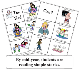 By mid-year, students are reading simple stories.