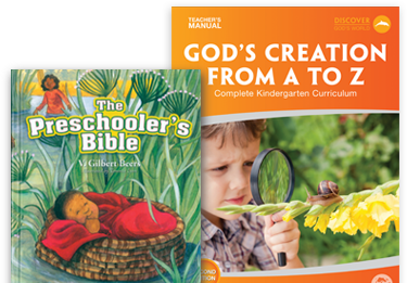 Preschooler's Bible and Kindergarten teacher's manual covers