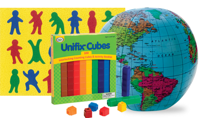 Unifix cubes, inflatable globe, and kids puzzle