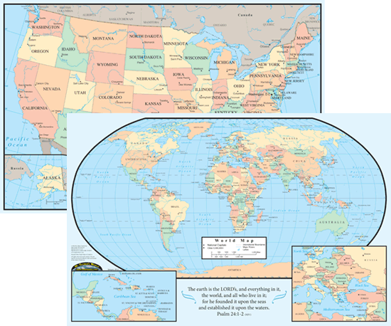 Map of the usworld placemat size 02750 this laminated placement sized map features the united states on one side and the world on the reverse gumiabroncs Gallery