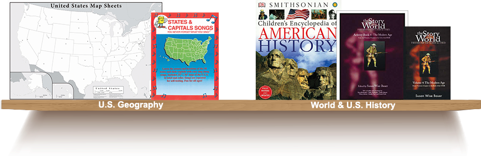 Bookshelf, U.S. Geography, World and U.S. History