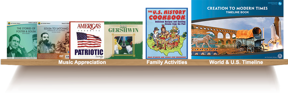 Bookshelf, Music Appreciation, Family Activities, World and U.S. Timeline