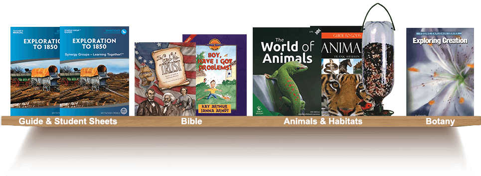 Bookshelf, Guide and Student Sheets, Bible, Animals and Habitats, Botany