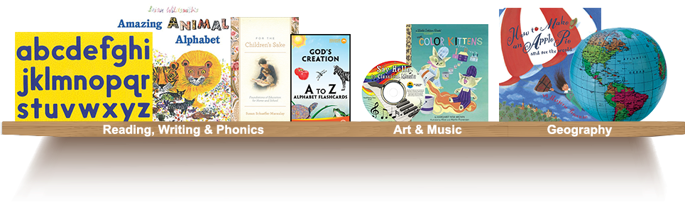Bookshelf, Reading, Writing, Phonics, Art, Music, Geography