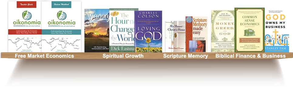 Bookshelf, Free Market Economics, Spiritual Growth, Scripture Memory, Biblical Finance and Business
