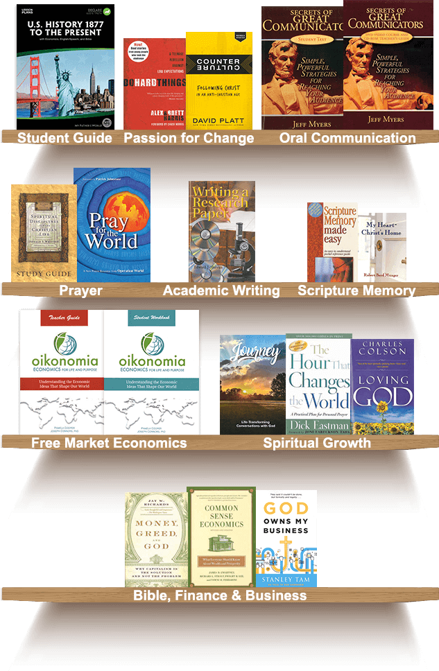 Bookshelf, Student Guide, Passion for Change, Oral Communication, Academic Writing, Prayer