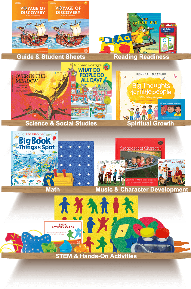 Bookshelf, Guide and Student Sheets, Reading Readiness, Science and Social Studies, Spiritual Growth, Math, Much and Character Development, STEM and Hands-On Activities