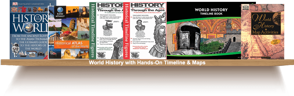 Bookshelf, World History with Hands-On Timeline and Maps