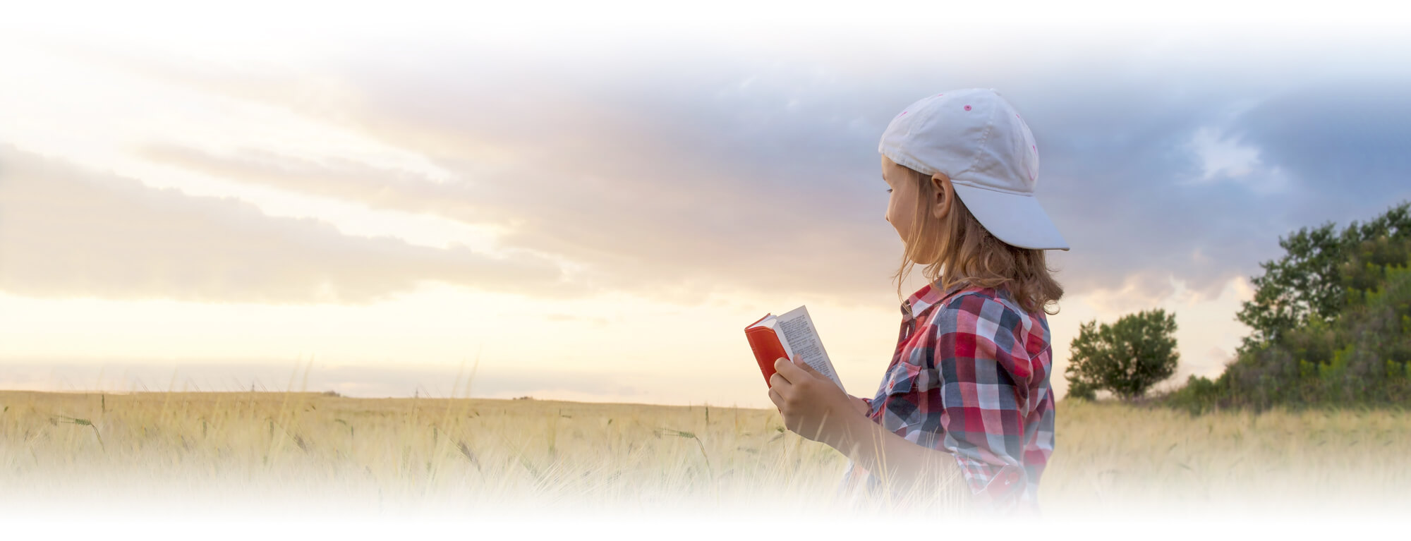 student girl reading Bible in field